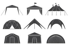 Set of various designs of tents for camping and pavilion tents. Tents for camping in the nature and for outdoor celebrations. Simple and lovable vector stock illustration