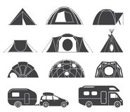 Tents and caravans for camping in the nature. Set of various designs of tents and caravans for camping and spending time outdoors. Simple and lovable vector vector illustration