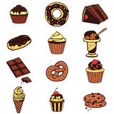 Set of various desserts, sweet food Stock Photography