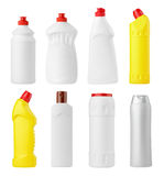 Set of various detergent bottles Stock Photo