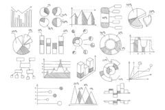 Set of various diagrams, graphs of growth and development with percents and schematic arrows. Hand drawn vector. Collection of various diagrams, graphs of growth stock illustration