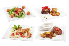 Set of 4 various dishes isolated on the white background. Many different dishes on a white background Royalty Free Stock Photos