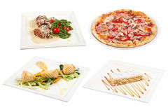 Set of 4 various dishes isolated on the white background. Many different dishes on a white background Royalty Free Stock Photography