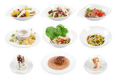 Set of 9 various dishes isolated on the white background. Many different dishes on a white background Royalty Free Stock Images