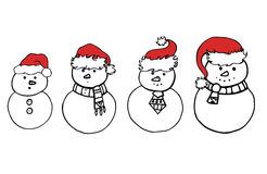 Set of various doodle snowman in Christmas hats. For your creativity Royalty Free Stock Images