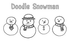 Set of various doodle snowman Royalty Free Stock Photography