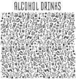 Set of various doodles cocktails and soft drinks Stock Images