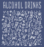Set of various doodles cocktails and soft drinks Royalty Free Stock Photography