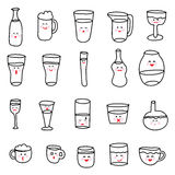 Set of various doodles, hand drawn rough simple sketches of various types of alcoholic and non-alcoholic drinks. Bottle water icon Royalty Free Stock Images