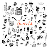 Set of various doodles, hand drawn rough simple sweets. Royalty Free Stock Images