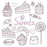 Set of various doodles, hand drawn sweets and candies sketches. Stock Photography