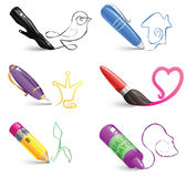 Set of various drawing tools with colorful line art drawings Stock Photos