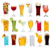 Set of various drinks, cocktails and beer Royalty Free Stock Photos