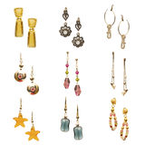 Set of various earrings isolated on the white Royalty Free Stock Image