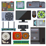 Set of various electronics devices computer parts vector. stock illustration