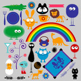 Set of various elements. Set of various cute elements stock illustration