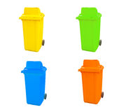 Set of various empty bins Stock Images