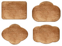 Set of various empty wooden sign or shapes Stock Photography