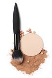 Set of various face powder and brush. Cosmetic set of compact and loose face powder, bronzed pearls and makeup brush isolated on white background. Top view point stock images