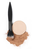 Set of various face powder and brush Stock Photography