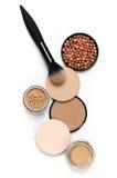 Set of various face powder and brush Stock Photos
