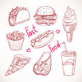 Set with various fast food Stock Photo