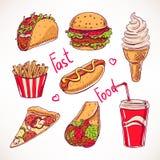 Set with various fast food - 2 Stock Photos