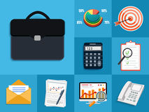 Set of various financial service items. Business management symbol, marketing items and office equipment Stock Photo