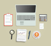 Set of various financial service items. Business management symbol, marketing items and office equipment Royalty Free Stock Photos