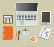 Set of various financial service items. Business management symbol, marketing items and office equipment Royalty Free Stock Photo