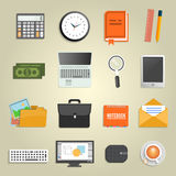 Set of various financial service items. Business management symbol, marketing items and office equipment Royalty Free Stock Photography