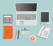 Set of various financial service items. Business management symbol, marketing items and office equipment Stock Image