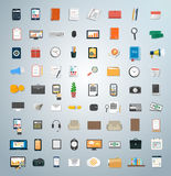 Set of various financial service items. Business management symbol, marketing items and office equipment Stock Images
