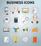 Set of various financial service items. Business management symbol, marketing items and office equipment Royalty Free Stock Images