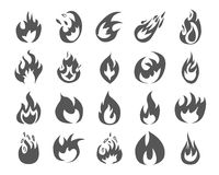 Set of various fire elements. Vector illustration Royalty Free Stock Image