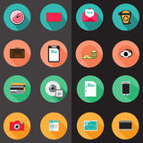 Set of various flat icons Stock Photos