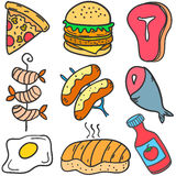 Set of various food doodles Royalty Free Stock Photo
