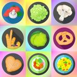 Set various food flat icons Royalty Free Stock Photo