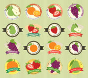 Set of various fresh fruit and vegetable premium quality tag Stock Photos
