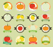 Set of various fresh fruit and vegetable premium quality tag Stock Image