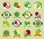 Set of various fresh fruit and vegetable premium quality tag Stock Photography