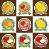 Set of various fresh fruits premium quality tag label badge sticker Stock Photo