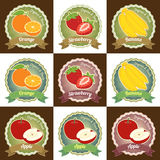 Set of various fresh fruits premium quality tag label badge sticker and logo design in vector Stock Images