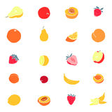 Set of various fruit icons Stock Image
