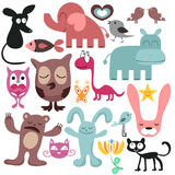 Set of various funny animals Royalty Free Stock Photography