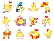 Set of Cute Chickens in Different Poses for you Design. Cartoon Character Stock Photos