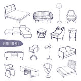Set of various furniture. Hand drawn different types sofas, chairs and armchairs, bedside tables, beds, tables, lamps. Collection. Black and white vector sketch vector illustration