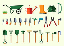 Set of various gardening items. Royalty Free Stock Photography