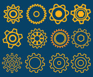 Set of various Gears Illustration with blue background Stock Photo