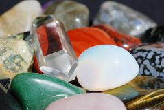Set of various gemstones. Set of semiprecious gemstones used in alternative medicine for healing and in esoterics Royalty Free Stock Image